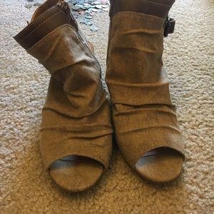 Open toe canvas booties